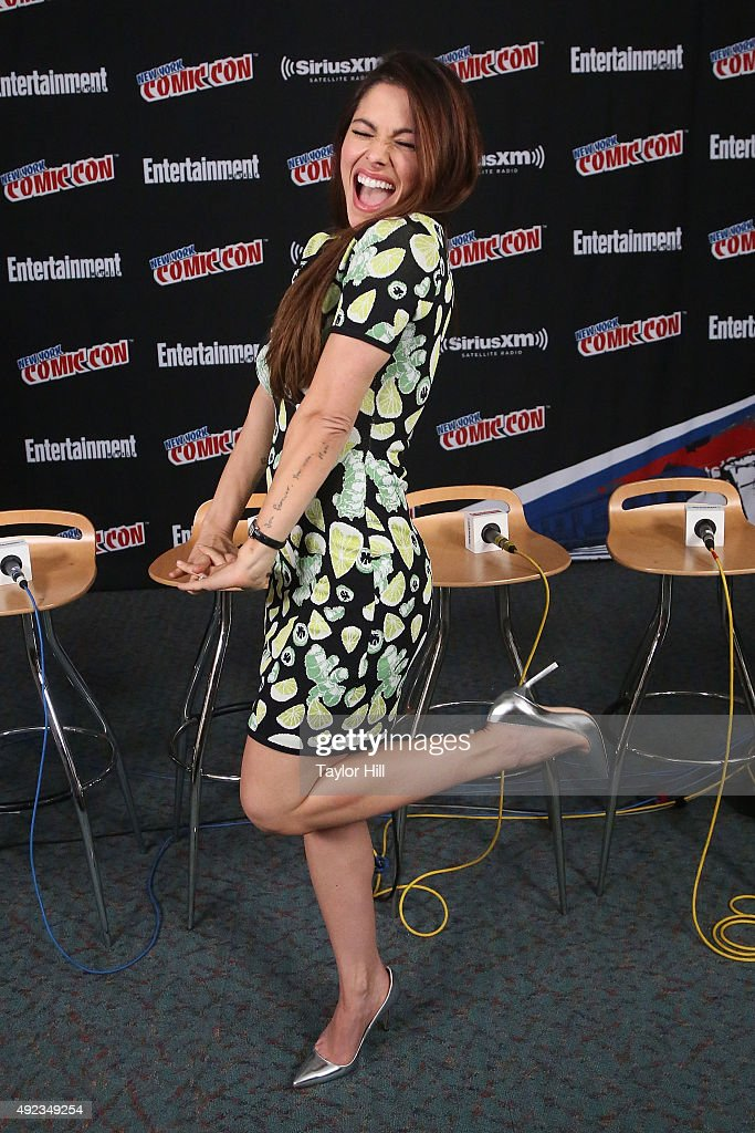 Sarah Shahi visits the SiriusXM Studios during New York Comic-Con at The Jacob K. Javits Convention Center on October 11, 2015 in New York City.