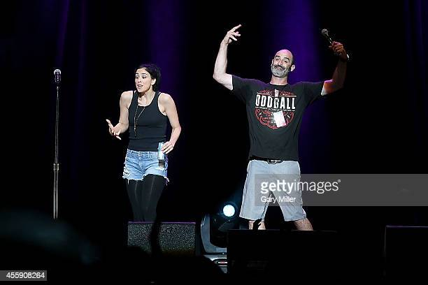 Sarah Silverman and Brody Stevens perform during the Funny Or Die Oddball Comedy Festival at the Austin360 Amphitheater on September 21 2014 in...