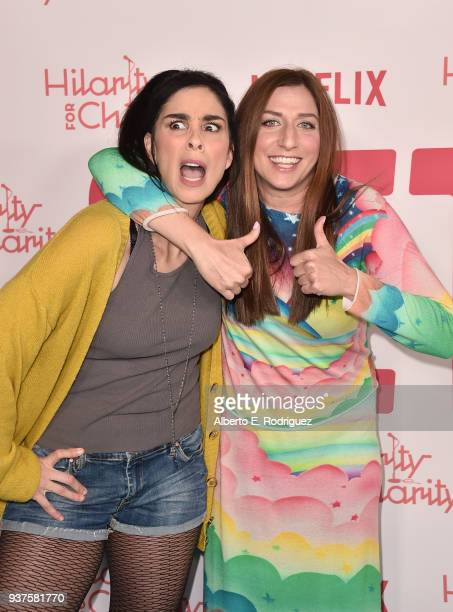 Sarah Silverman and Chelsea Peretti attend the 6th Annual Hilarity For Charity at The Hollywood Palladium on March 24 2018 in Los Angeles California