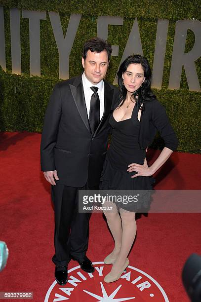 Sarah Silverman and Jimmy Kimmel at the Vanity Fair Oscars® Party in the Sunset Tower Hotel in West Hollywood