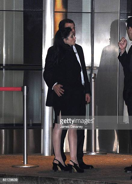 Sarah Silverman and Jimmy Kimmel depart the wedding of Howard Stern and Beth Ostrosky at Le Cirque on October 3 2008 in New York City