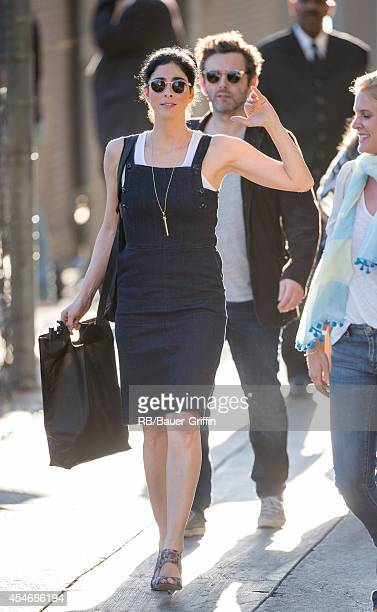 Sarah Silverman and Michael Sheen are seen at 'Jimmy Kimmel Live' on September 04, 2014 in Los Angeles, California.