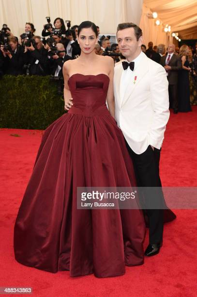 Sarah Silverman and Michael Sheen attend the Charles James Beyond Fashion Costume Institute Gala at the Metropolitan Museum of Art on May 5 2014 in...