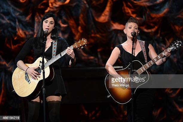 Sarah Silverman and Natalie Maines perform at 'Howard Stern's Birthday Bash' presented by SiriusXM produced by Howard Stern Productions at...