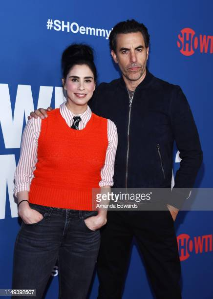 Sarah Silverman and Sacha Baron Cohen arrive at the FYC Red Carpet Event For Showtime's Who Is America at the Paramount Theatre on May 15 2019 in...