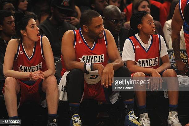 Sarah Silverman Anthony Anderson and Mo'ne Davis attend the NBA AllStar Celebrity Game NBA All Star Weekend 2015 on February 13 2015 in New York City