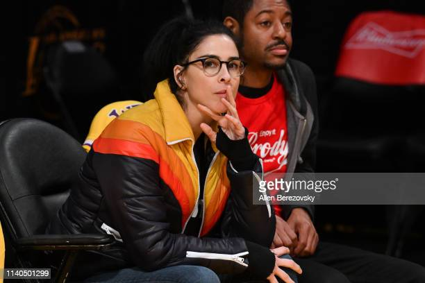 Sarah Silverman attends a basketball game between the Los Angeles Lakers and the Golden State Warriors at Staples Center on April 04 2019 in Los...