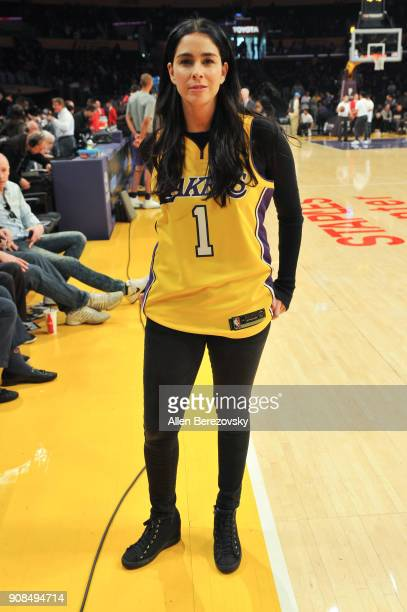 Sarah Silverman attends a basketball game between the Los Angeles Lakers and the New York Knicks at Staples Center on January 21 2018 in Los Angeles...