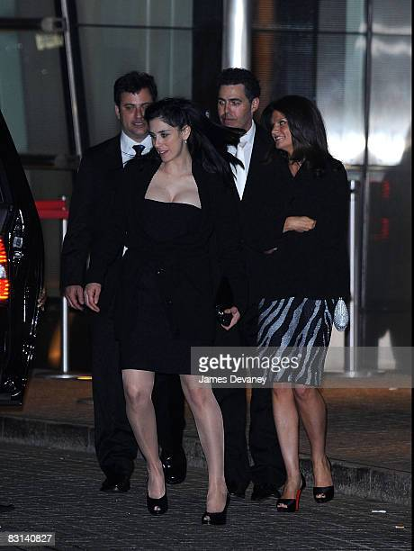 Sarah Silverman Jimmy Kimmel and Adam Carolla depart the wedding of Howard Stern and Beth Ostrosky at Le Cirque on October 3 2008 in New York City