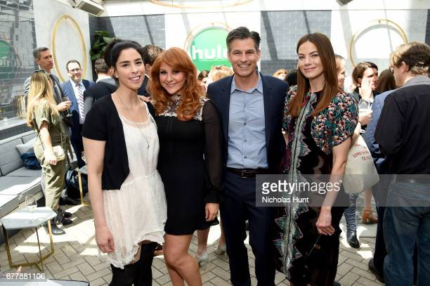 Sarah Silverman Julie Klausner Mike Hopkins and Michelle Monaghan attend the Hulu Upfront Brunch at La Sirena Ristorante on May 3 2017 in New York...