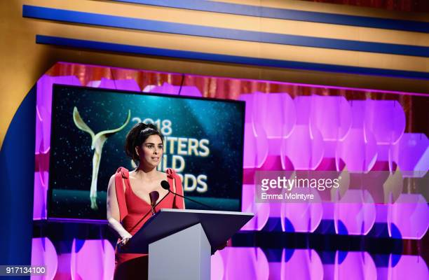 Sarah Silverman speaks onstage during the 2018 Writers Guild Awards LA Ceremony at The Beverly Hilton Hotel on February 11 2018 in Beverly Hills...