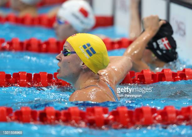 Sarah Sjoestroem of Team Sweden looks on after coming in second in the Women's 50m Freestyle Semifinal 1 at Tokyo Aquatics Centre on July 31, 2021 in...