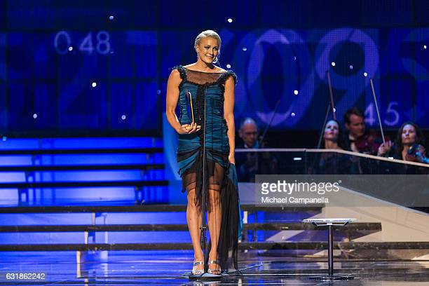 Sarah Sjoestroem wins the Female Athlete of the Year during the 2017 Sweden Sports Gala held at the Ericsson Globe Arena on January 16, 2017 in...