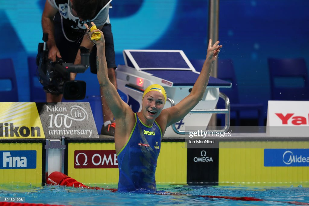 Sarah Sjostrom celebrates breaking the world record in the Women's 50m Freestyle semi final during the FINA World Championships at the Duna Arena on day sixteen on July 29, 2017 in Budapest, Hungary.