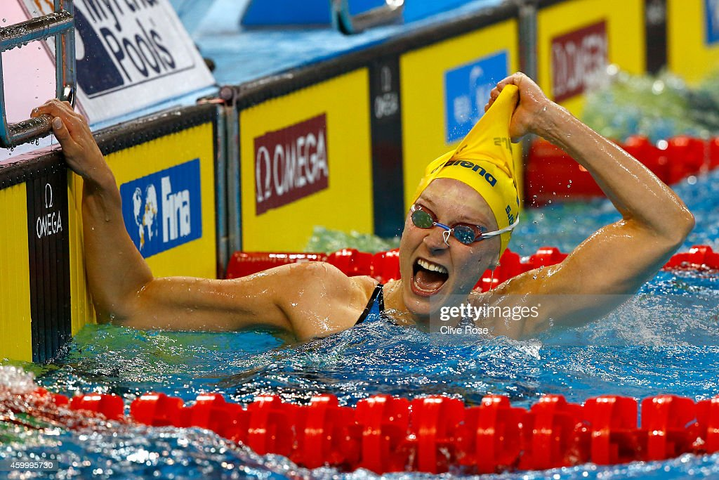 Sarah Sjostrom of Sweden celebrates winning the Women's 50m Butterfly Final on day three of the 12th FINA World Swimming Championships (25m) at the Hamad Aquatic Centre on December 5, 2014 in Doha, Qatar.