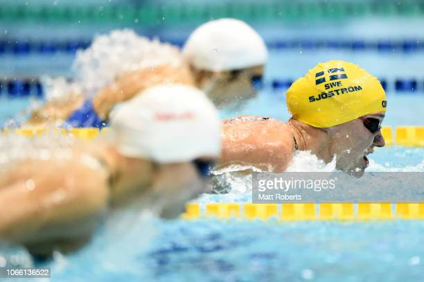 Sarah Sjostrom of Sweden competes during the Women's 100m Butterfly Final on day three of the FINA Swimming World Cup at Tokyo Tatsumi International...