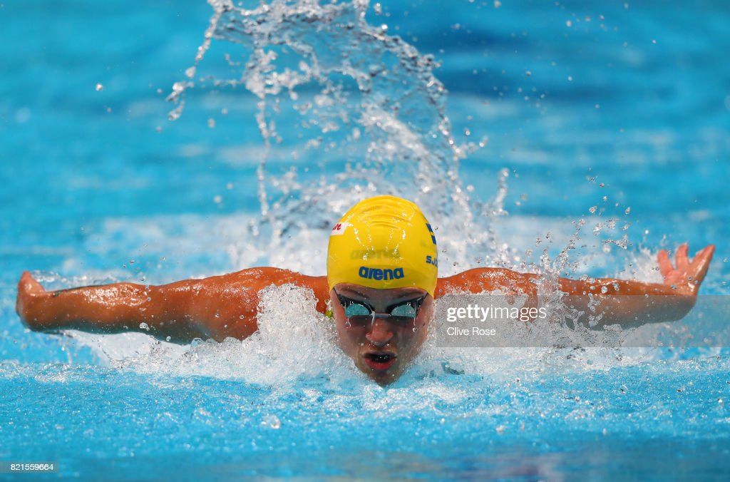 Sarah Sjostrom of Sweden competes during the Women's 100m Butterfly Final on day eleven of the Budapest 2017 FINA World Championships on July 24, 2017 in Budapest, Hungary.