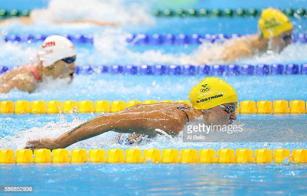 Sarah Sjostrom of Sweden competes in the second Semifinal of the Women's 100m Butterfly on Day 1 of the Rio 2016 Olympic Games at the Olympic...