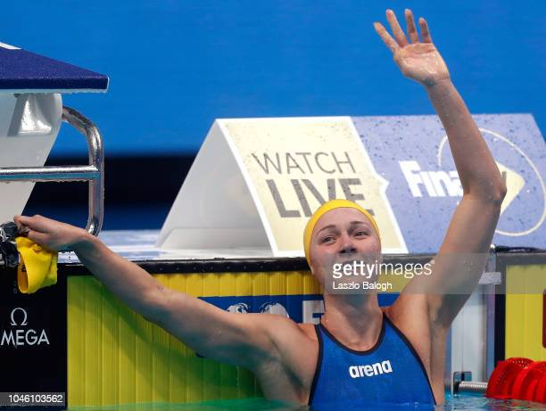 Sarah Sjostrom of Sweden reacts during the Woman's 200m Freestyle final during day two of the FINA Swimming World Cup at Duna Arena on October 5 2018...