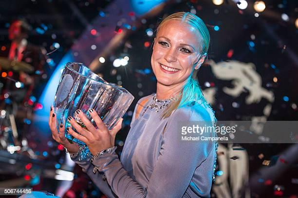 Sarah Sjostrom wins the Swedish Radio's Jerring prize at the Swedish Sports Gala at the Ericsson Globe on January 25, 2016 in Stockholm, Sweden.