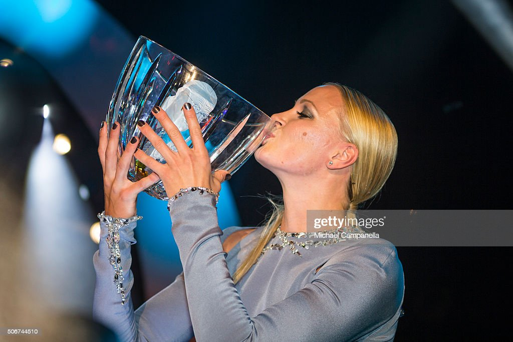Sarah Sjostrom wins the Swedish Radio's Jerring prize at the Swedish Sports Gala at the Ericsson Globe on January 25, 2016 in Stockholm, Sweden.