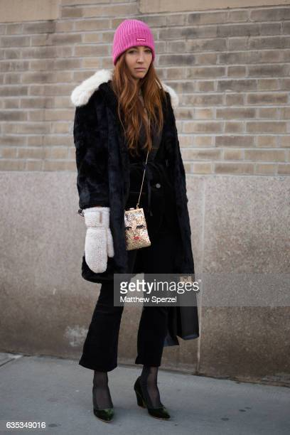 Sarah Slutsky is seen attending ICB during New York Fashion Week wearing a fur coat and pink Supreme hat on February 14 2017 in New York City