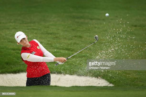 Sarah Smith of Australia chips from the bunker onto the 14th green during the second round of the 2018 U.S. Women's Open at Shoal Creek on June 1,...