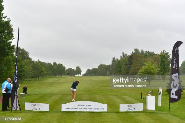 Sarah Smith of Saffron Walden GC tees off during the Titleist FootJoy Women's PGA Professional Championship at Trentham Golf Club on May 31 2019 in...