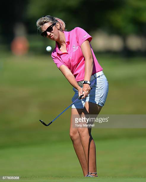Sarah Smith of Saffron Walden Golf Club chips onto the 9th during the Women's PGA Championship at Frilford Heath Golf Club on July 19 2016 in...