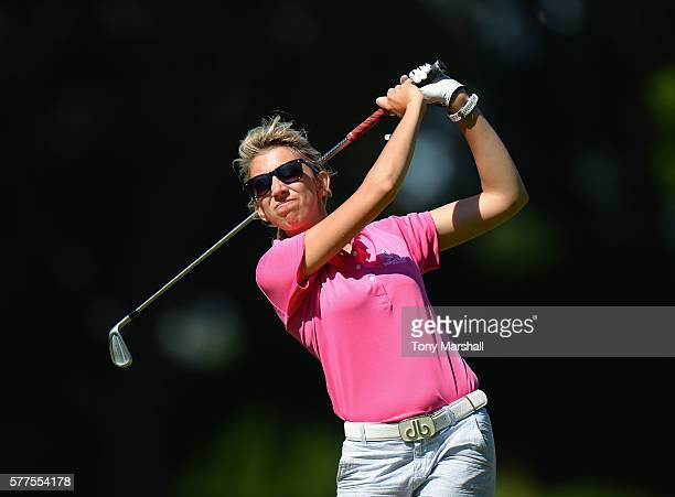 Sarah Smith of Saffron Walden Golf Club plays her first shot on the 9th tee during the Women's PGA Championship at Frilford Heath Golf Club on July...