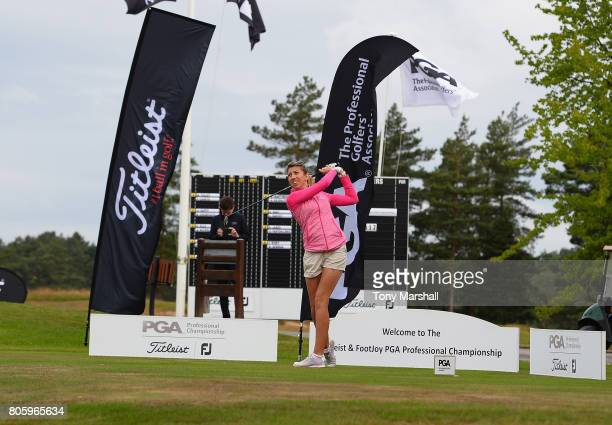 Sarah Smith of Saffron Walden Golf Club plays her first shot on the 1st tee during the Titleist and FootJoy Women's PGA Professional Championship at...