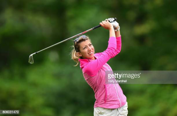 Sarah Smith of Saffron Walden Golf Club plays her first shot on the 13th tee during the Titleist and FootJoy Women's PGA Professional Championship at...