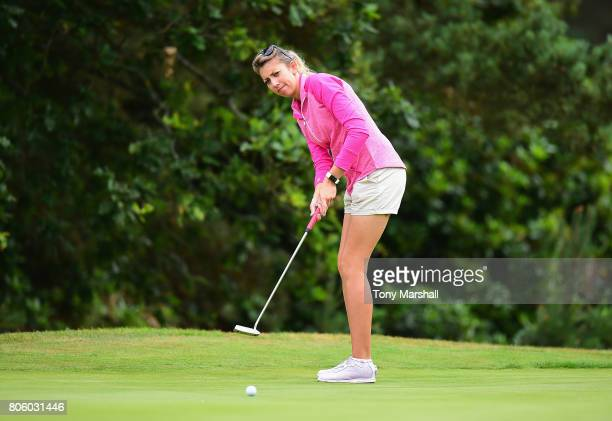 Sarah Smith of Saffron Walden Golf Club putts on the 13th green during the Titleist and FootJoy Women's PGA Professional Championship at The...