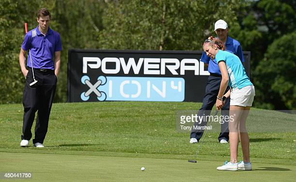 Sarah Smith of Topgolf Game Centre putting on the 18th green during the Powerade PGA Assistants' Championship Final at The Covenrty Golf Club on June...