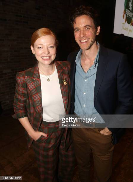 Sarah Snook and Ashley Zukerman pose at the 2019 SPACE on Ryder Farm Gala at The Caldwell Factory on November 11 2019 in New York City