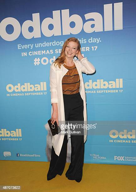 Sarah Snook arrives ahead of the 'Oddball' Sydney premiere at Event Cinemas Bondi Junction on September 6 2015 in Sydney Australia