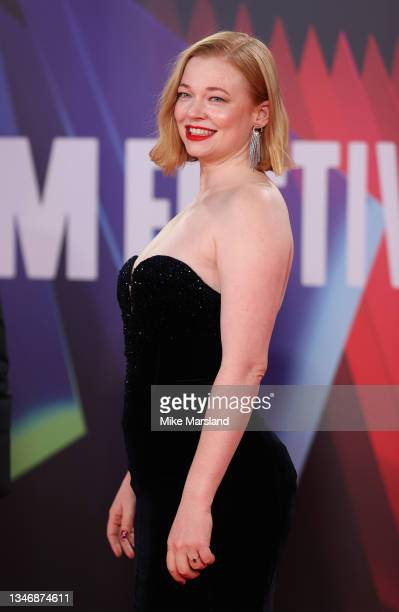 """Sarah Snook attends the """"Succession"""" European Premiere during the 65th BFI London Film Festival at The Royal Festival Hall on October 15, 2021 in..."""