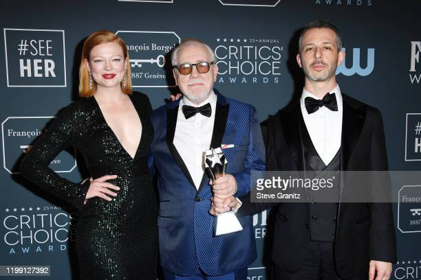 Sarah Snook, Brian Cox, and Jeremy Strong of Best Drama Series award-winner 'Succession,' pose in the press room during the 25th Annual Critics'...