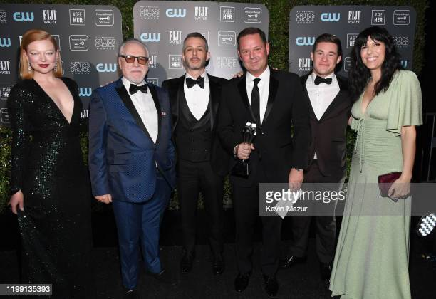 Sarah Snook, Brian Cox, Jeremy Strong, Kevin Messick, Adam DeVine, and Edi Patterson pose in the press room with the Best Drama Series award for...