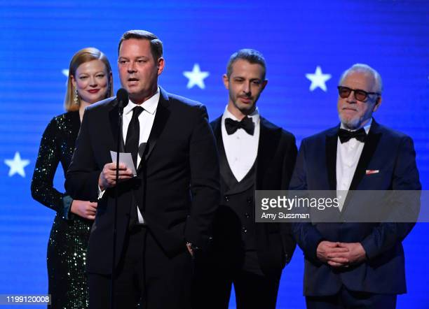 Sarah Snook, Kevin Messick, Jeremy Strong, and Brian Cox accept Best Drama Series for 'Succession' onstage during the 25th Annual Critics' Choice...
