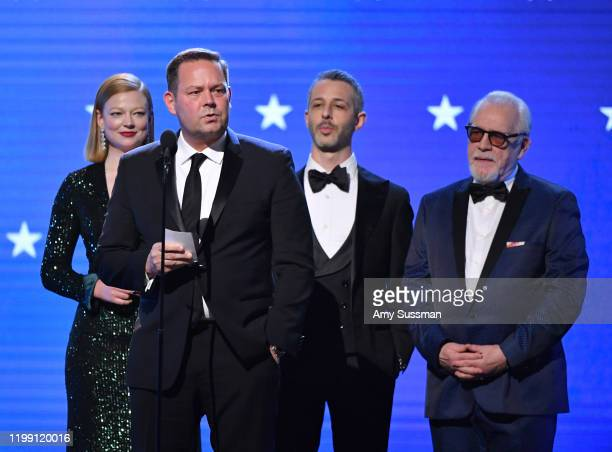 Sarah Snook Kevin Messick Jeremy Strong and Brian Cox accept Best Drama Series for 'Succession' onstage during the 25th Annual Critics' Choice Awards...