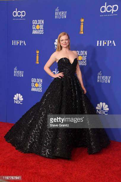 Sarah Snook poses in the press room during the 77th Annual Golden Globe Awards at The Beverly Hilton Hotel on January 05 2020 in Beverly Hills...