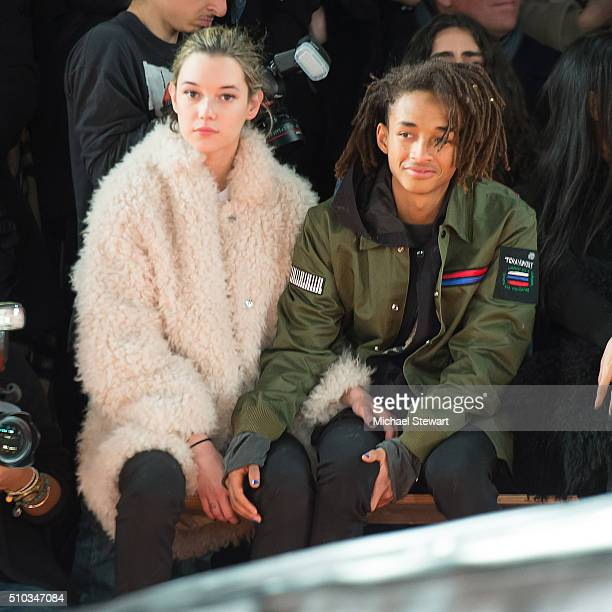 Sarah Snyder and Jayden Smith attend the Opening Ceremony fashion show during Fall 2016 New York Fashion Week at Pier 90 on February 14 2016 in New...