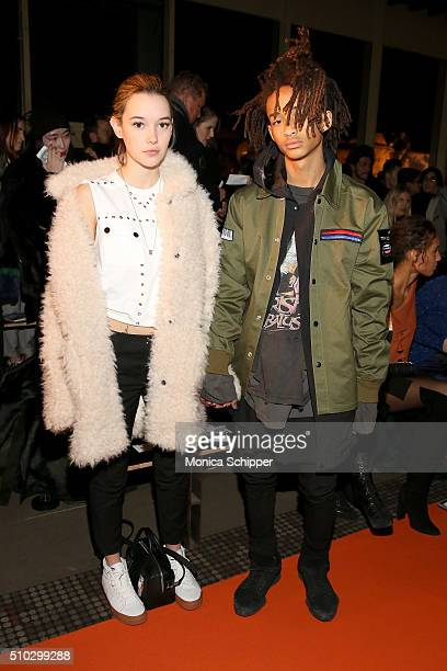Sarah Snyder and music artist actor Jaden Smith attends the Opening Ceremony Fall 2016 fashion show during New York Fashion Week on February 14 2016...