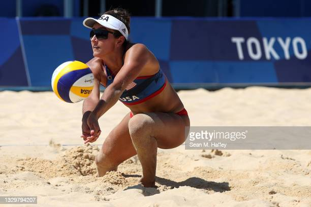 Sarah Sponcil of Team USA Women's Beach Volleyball plays a shot during practice ahead of the Tokyo 2020 Olympic Games on July 21, 2021 in Tokyo,...