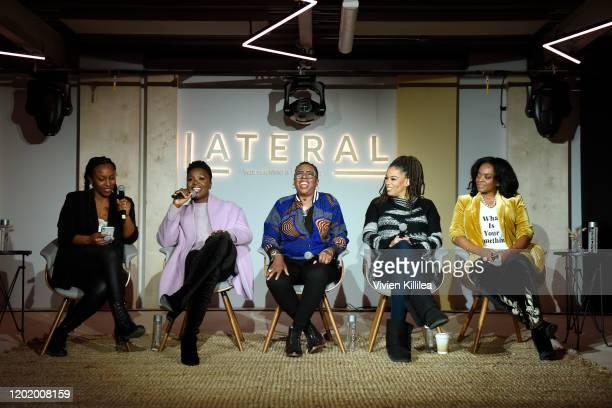 Sarah Springer Folake Olowofoyeku Gina Yashere Nkechi Okoro Carroll and Karan Kendrick attend the Women in Film Panel at Lateral at WarnerMedia Lodge...