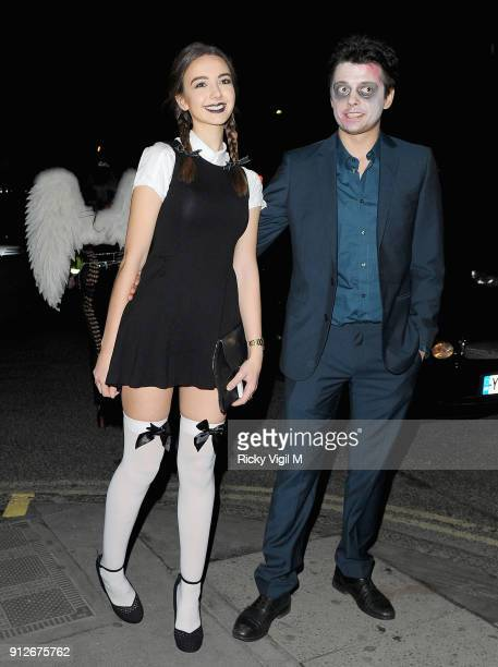 Sarah Stanbury and Fenton Bailey attend the Death Of A Geisha VIP Halloween Party on November 1 2014 in London England