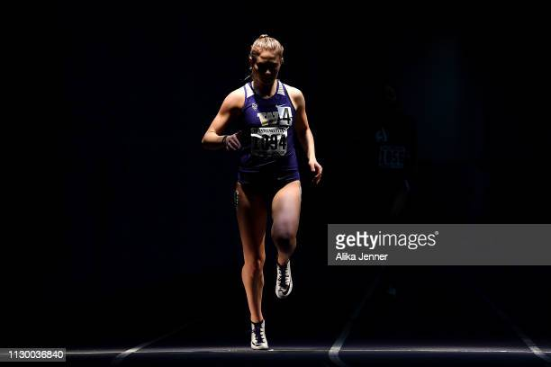 Sarah Stavig of the Washington Huskies competes in the women's 200 meter dash at Dempsey Indoor Center on February 15 2019 in Seattle Washington
