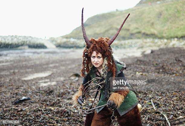 Sarah Steele from Whitby dresses as the folklore figure Krampus ahead of a charity event on December 3 2016 in Whitby United Kingdom The Krampus is a...
