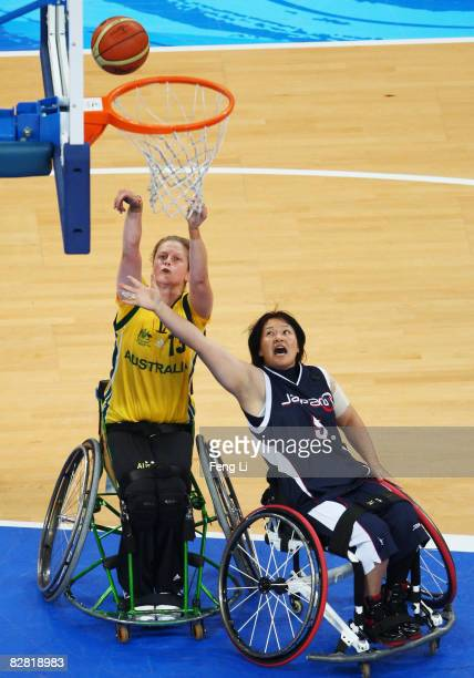 Sarah Stewart of Australia shoots during the bronze medal Wheelchair Basketball match between Australia and Japan at the National Indoor Stadium...